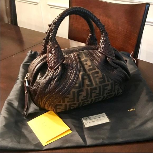 ec2c897f3ce Fendi Handbags - FENDI TOBACCO ZUCCA PRINT BABY SPY BAG. EUC!